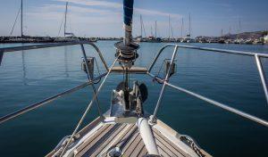 Barca's sailing boat prow ready for sailing in caldera port