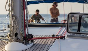a close up inside the boat on sunset
