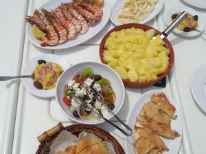tasty greek dishes at Barca's boat excursions waiting customers to enjoy them