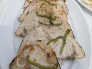 Very tasty fish dish on Barca's sailing Boat