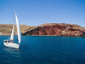 Barca's sailing boat on a private morning excursion at santorini